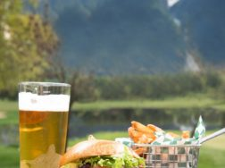 Local Beef Burger and Whistler Beer Pint at Fescues Restaurant in Pemberton