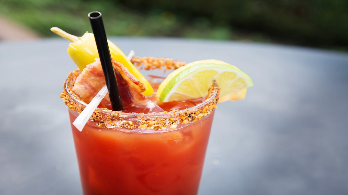 Caesar Sundays with Big Sky Bacon Infused Vodka Caesar, on the patio in Pemberton