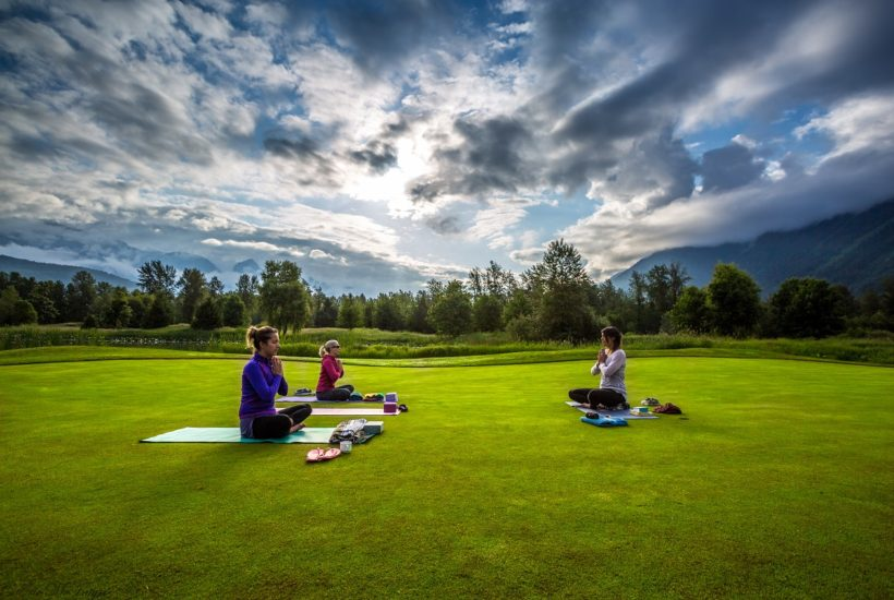 Yoga on the Green at Big Sky